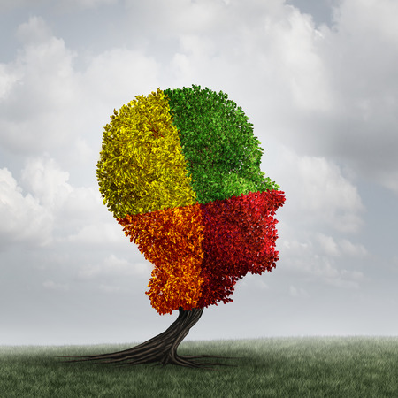 disorder: Human mood psychology change as a human head tree with changing leaf color as a mental health metaphor for brain thinking disorder and neurology chemistry imbalance or personality changes symbol.