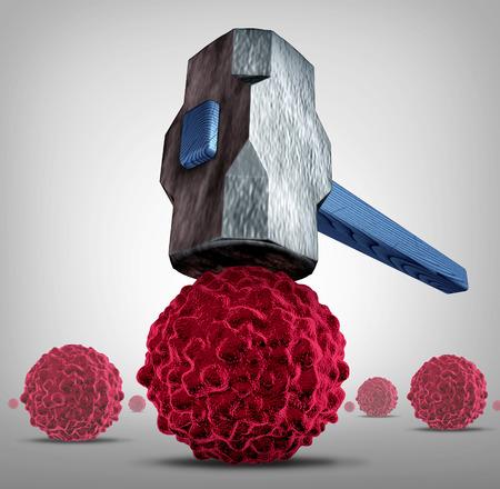 Aplastar el concepto del cáncer como un martillo pesado o aplastamiento de martillo y rompiendo, una célula cancerosa como un símbolo médico de atención médica para una investigación o cura farmacéutica para combatir la enfermedad peligrosa con tratamientos para salvar vidas.