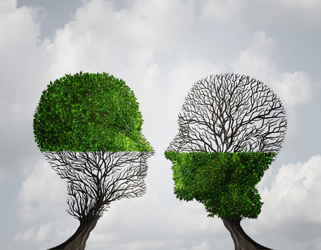 puzzle people: Complement each other concept as two trees with half of the tree with full leaves and the other with none as a business or life metaphor for synergy and alliance with an equal partnership with common interests.
