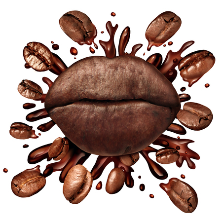 Coffee lips concept and a hot beverage splash with coffee beans flying out as a dark roast brew with splashing fresh hot brewed liquid as a symbol for the love of drinking caffeinated drinks isolated on a white background.