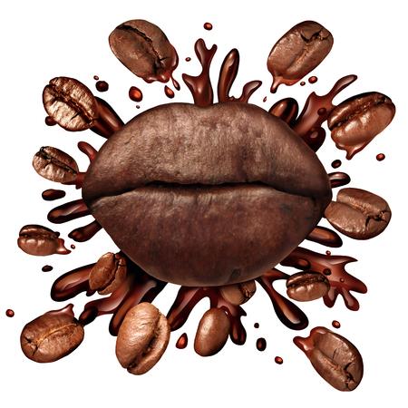 los labios de café concepto y una bienvenida de bebida caliente con los granos de café de volar como un brebaje oscuro asado con salpicar líquido fresco caliente se prepara como un símbolo para el amor de beber bebidas con cafeína aislados en un fondo blanco.