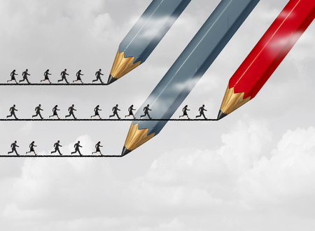 bridging: Success in business strategy with a group of pencils drawing a bridge line as a group of people running to achieve their goal as a red pencil leads the way for the winning team.