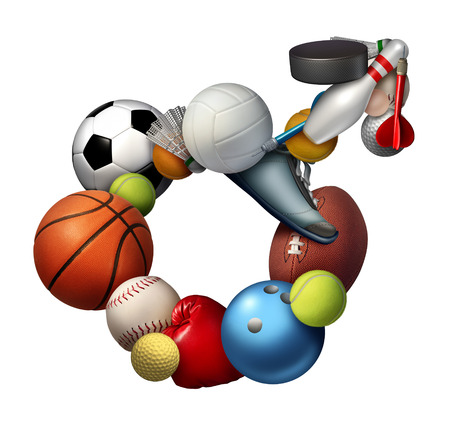 sporting equipment: Male sports sign icon and symbol or sport men concept as a group of sporting equipment as soccer football tennis shaped as an icon representing the man gender active lifestyle. Stock Photo