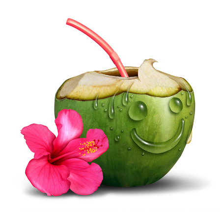 quench: Happy tropical drink concept as a fresh cut coconut with a flower and water drops shaped as a smiling face as a vacation relaxation symbol and leisure recreation icon on a white background. Stock Photo
