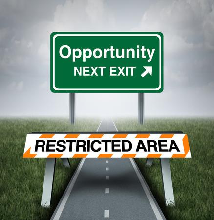 discriminacion: Restringido el concepto de oportunidad y el símbolo de bloqueo de carretera negocio como una barrera con el texto de restricción de entrada a un camino con un signo de oportunidades como una metáfora de la discriminación o injusto mundo empresarial limitada.