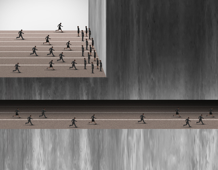 insider: Hidden career opportunities business jobs concept as a group of people stopped at a wall and another group in an underground tunnel as an employment or seccret industry metaphor or corporate insider symbol.
