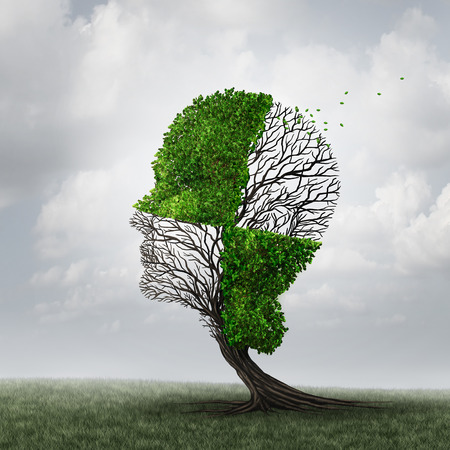 head: Compartmentalization and compartmentalize psychology as a mind defense mechanism concept or mental health disease metaphor as dementia with a tree shaped as a head with a checkered pattern as a cognitive and neurology icon.