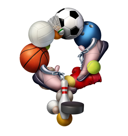 sporting equipment: Female sports sign icon and symbol or sport women concept as a group of sporting equipment as soccer volleyball tennis shaped as an icon representing the female gender as a metaphor for girl fitness and active lifestyle.