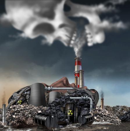 Giftige rook symbool als een vuile industriële fabriek met huisvuil rook stacks en een kerncentrale in de vorm van een menselijk gezicht vervuilen het milieu met giftige stoffen in de vorm van een schedel lucht.
