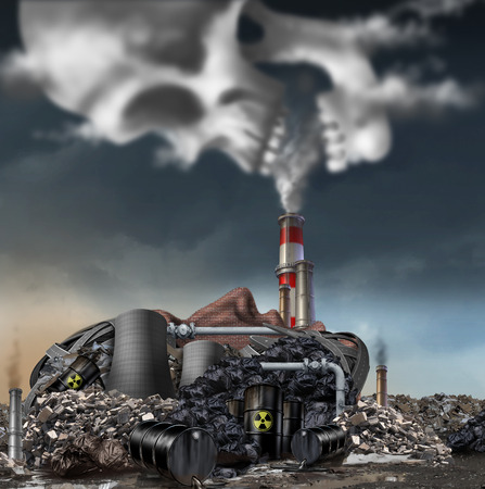 environment: Toxic smoke symbol as a dirty industrial factory with garbage smoke stacks and a nuclear power plant shaped as a human face polluting the environment with toxins in the air shaped as a skull.