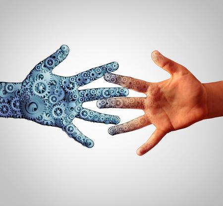 Verschmelzung mit Technologie mit Mensch und Maschine zusammenkommen und Zusammenführung in einem als technologische Konzept der menschlichen Computertechnik mit der Intelligenz von Menschen, die sich zusammen.