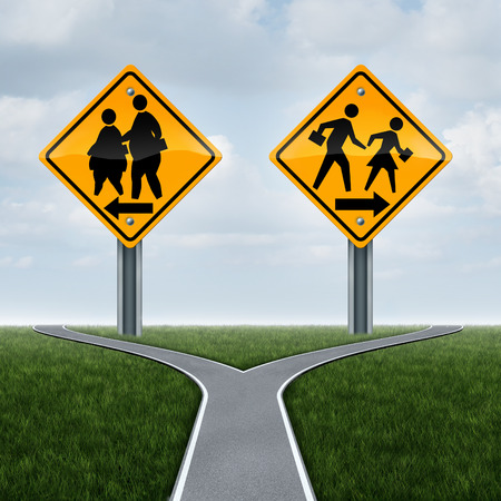 Scuola simbolo fitness e il concetto di educazione fisica come gli studenti obesi sovrappeso su un cartello e un altro con i bambini in forma attiva in buona salute che funzionano come una scelta di vita metafora bivio per i bambini.