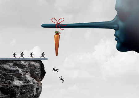 Incentive trap and corrupt leader business concept as a group of people running towards a carrot tied to a liar nose only to have been tricked and fooled into fall off a cliff as a metaphor for entrapment or bait trapping in a risky economy. Stockfoto