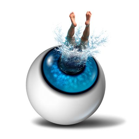icono deportes: Concepto de pensamiento creativo y símbolo visión compartida como un icono de la empresa como una persona que hace un chapoteo sumergiéndose en un ojo humano como una metáfora de éxito para los deportes acuáticos o la salud de la vista.