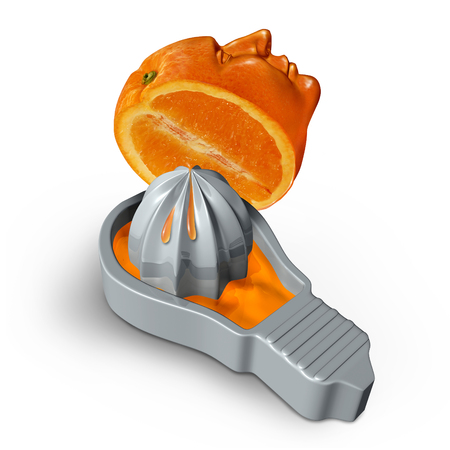 creativity symbol: Creativity and creative juice concept as an orange shaped as a human head being squeezed into a juicer in the shape of a lightbulb or light bulb as a symbol for imagination and idea inspiration or innovation and brain drain.