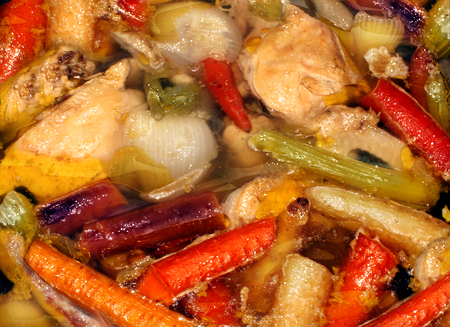old fashioned vegetables: Rustic soup and healthy eating real food background made from scratch as a slow cooking hearty stew made of fresh chicken and market garden whole natural vegetables.