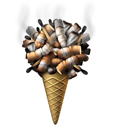 joven fumando: Jóvenes símbolo de fumar como un grupo de colillas de cigarrillos cigarrillos de marihuana y partidos formados como helado en un cono como el abuso de drogas y la salud de niños peligros de atrapar a un niño a la nicotina y las drogas de adicción. Foto de archivo