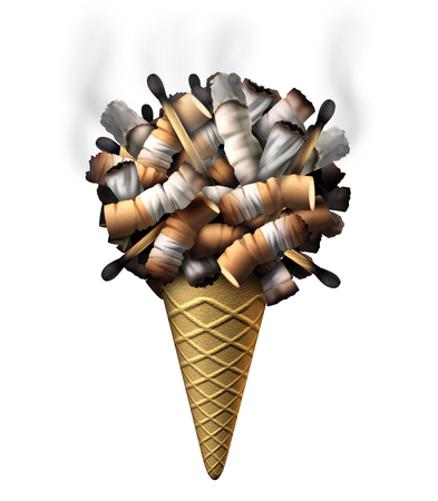 ingest: Youth smoking symbol as a group of cigarette butts marijuana joints and matches shaped as icecream on a cone as children health drug abuse and dangers of trapping a child into nicotine and drugs addiction.
