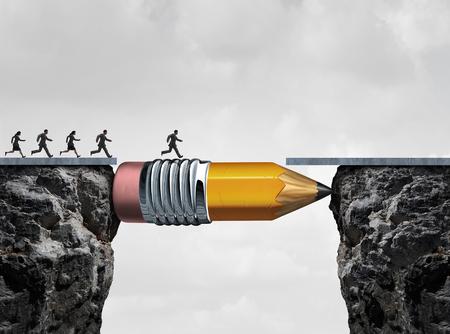 concepto: Negocios símbolo de éxito y la adversidad conquista como un grupo de personas corriendo de un acantilado a otro con la ayuda de un lápiz que actúa como un puente en un concepto para la reducción de la brecha para alcanzar una meta. Foto de archivo
