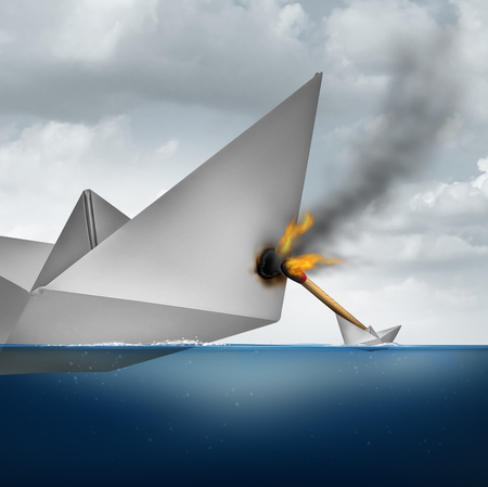Small business strategy concept and vulnerable big corporation with a huge paper boat being attacked by a small vessel with a burning match causing damage to the larger competitor as a metaphor for corporate vulnerability.