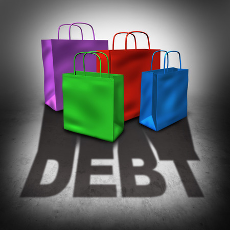 overspending: Shopping debt and credit card spending crisis as a group of retail bags casting a shadow with text as a financial failure concept and budget problem caused by overspending.