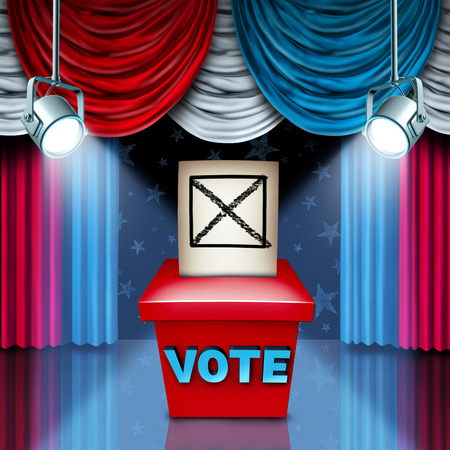 political and social issues: American Ballot box election concept with red white and blue United States flag color curtains as a metaphor for a political campaigning on social policy issues to win the vote in a free democratic process. Stock Photo