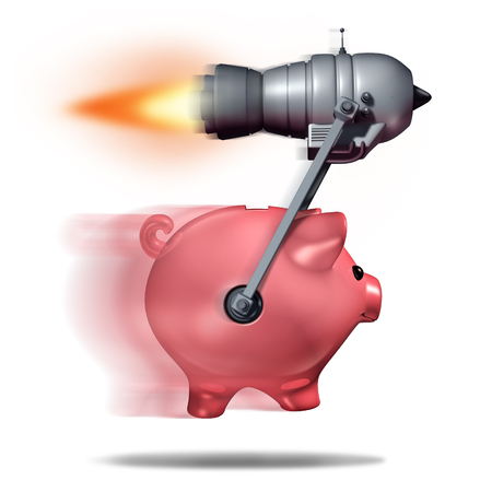 accelerated: Fast cash concept and business success symbol as a piggy bank being accelerated by a rocket engine as a metaphor for quick express money or rapid financial service. Stock Photo