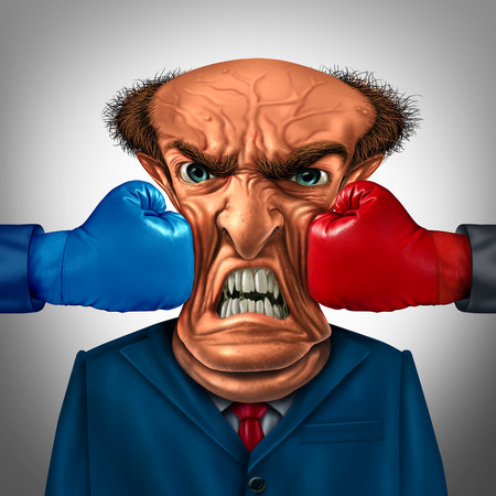 punch press: Business pressure concept as a businessman being punched and crushed by two boxing gloves from competitors as a financial stress metaphor and corporate squeeze symbol or headache icon.