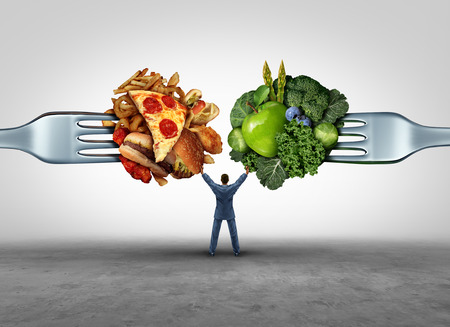 Food health decision and diet choice concept and nutrition options dilemma between healthy good fresh fruit and vegetables or greasy cholesterol rich fast food on a fork with a man in the middle uncertain of what to eat.