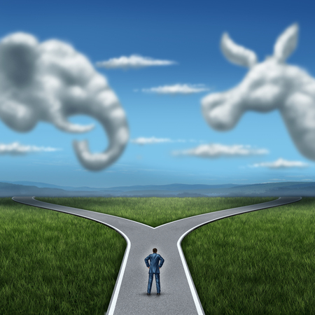 election night: Republican versus democrat concept American election campaign fight as two clouds shaped as an elephant and donkey symbol with a voter on a cross road dilemma for the vote of the United states for an election win.