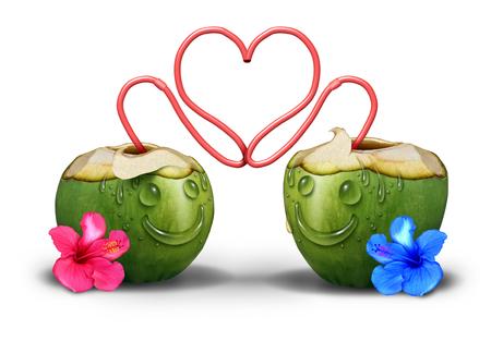 parejas romanticas: Pareja �ntima rom�nticamente en el amor como dos bebidas tropicales de coco con caras hechas de gotas de agua y la paja que abrazan y que abrazan juntos como un s�mbolo relaci�n lindo y un icono del d�a de San Valent�n. Foto de archivo