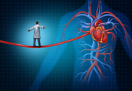 Heart surgery concept as a cardiac surgeon walking on an artery shaped as a high wire rope leadsing to the inner cardiovascular organs of the human anatomy as a cardiology medical idea.