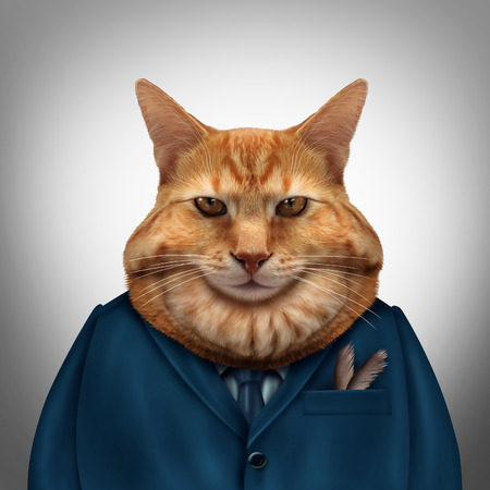 Business fat cat character as a feline tycoon businessman character as a symbol for a wealthy boss or a greedy and selfish magnate owner.