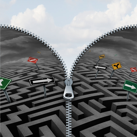 hidden success: Business insight and discovery concept as a confusing maze or labyrinth being zipped open to reveal a beautifil paeceful bright sky as a success metaphor for vision and clearing clutter from life.