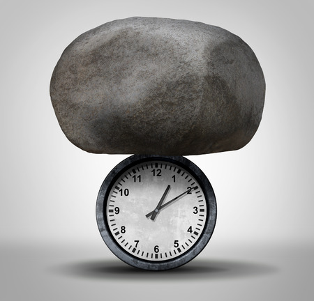 tardy: Time Pressure business concept as a huge rock pressing down on a clock as a stress metaphor for work schedule tension and overdue appointment burden symbol. Stock Photo