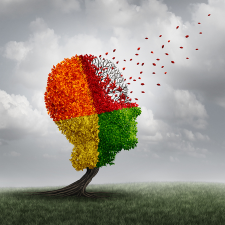 brain works: Dementia brain loss memory problem and aging due to cognitive disease and alzheimers illness as a medical icon of a group of color changing autumn fall tree shaped as a human head losing leaves with winds of change.