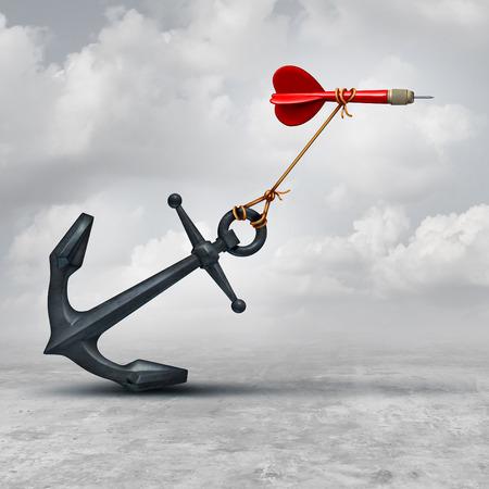 Retos en los negocios como un dardo siendo frenados por un ancla pesada como una metáfora de la adversidad y el símbolo o superar una desventaja para lograr su objetivo de alcanzar el objetivo.