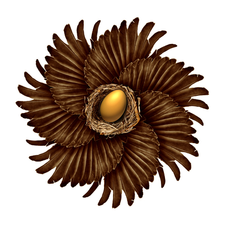 managing: Life and creation concept as a group of bird wings shaped as a blossoming flower with a gold nest egg in the middle as a success metaphor for community assistance or a connected network managing financial security.