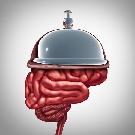 health answers: Education services and mental health services or smart help concept as a hotel bell on a human brain as a symbol for tutoring and training assistance or a metaphor for expert professional advice. Stock Photo