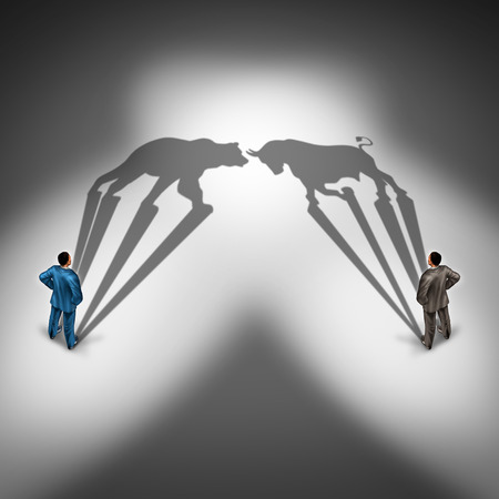 bear market: Bear and bull investor trading and investing financial symbol with a two businessmen representing bearish and bullish thinking. Stock Photo