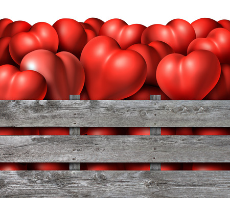 saint valentine: Love season symbol as a group of red dimensional hearts in a rustic wood crate as a symbol for saint valentine day holyday,or romantic relationship concept for datinf engagement or marriage. Stock Photo