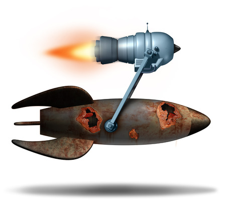 innovating: Upgrading old technology as an upgrade in business concept as an old rusted rocket ship attached to a modern jet engine or booster motor for increased speed and performance as a success metaphor for innovating old noncompetitive ideas.