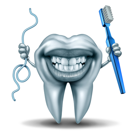 prevent: Teeth cleaning character holding a toothbrush and a string of floss with a wide laughing smile on the human molar tooth as a dental and dentistry hygiene symbol.