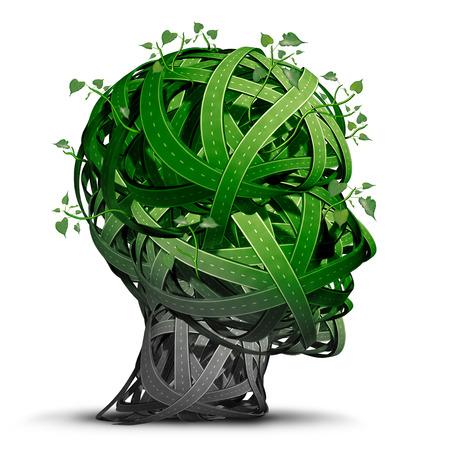 Verde pensamiento transporte y símbolo de combustibles alternativos como el conjunto de caminos verdes en forma de una cabeza humana que representan las crecientes soluciones de transporte de energía limpia amigables ecológicos como tecnología de vehículos eléctricos.