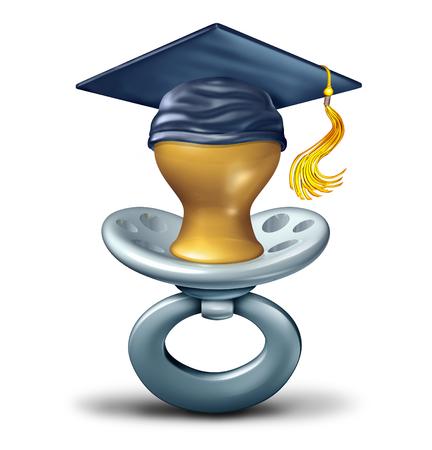 赤ちゃん教育と将来の学生は、白い背景の上の概念や保育サービスの学習幼児として卒業キャップやモルタル ボードを着ておしゃぶりとして卒業し