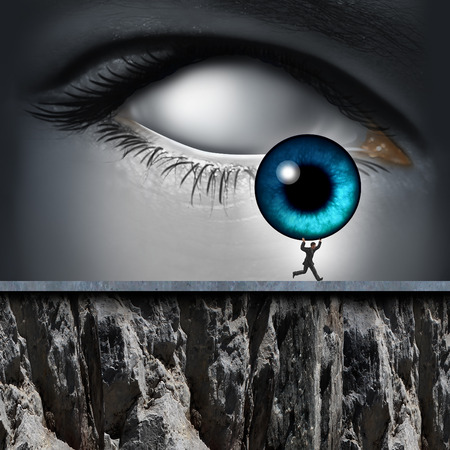 Stolen identity and having your personal information illegaly removed by a cyber thief as an internet criminal stealing the iris of a human eye as a security technology icon.