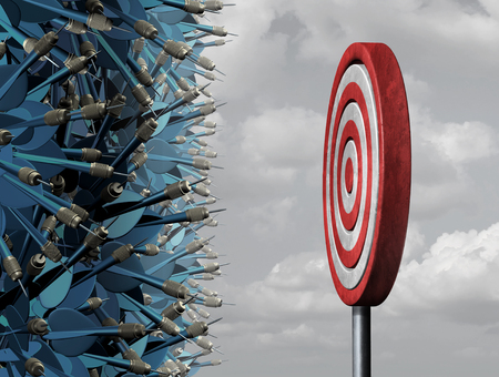 metaphor: Crowded target business concept as a group of confused darts congested in a bottleneck  aiming for a common goal target as a metaphor for oversupply and excessive competition for limited opportunity.