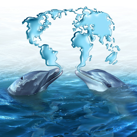Marine Ecology concept and ocean environmental symbol as two dolphins spitting out water from the sea shaped as a global map of the world as a metaphor for habitat protection and wildlife conservation.