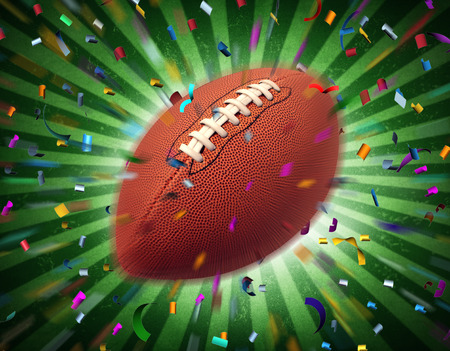 football party: Football celebration and touchdown party in a United States championship game and professional sport ball on a starburst background with confetti and streamers for a traditional American and Canadian sporting event.