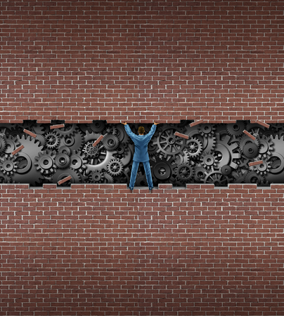 business gears: Business insider concept as a businessman lifting open a brick wall to reveal a group of mechanical gears and cog wheels exposing the inner workings of a company as market research or corporate inspection.. Stock Photo